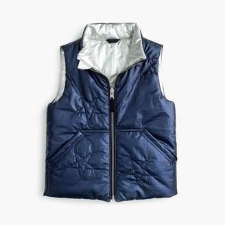 J.Crew Girls' reversible metallic puffer vest with Primaloft®