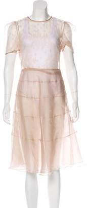 Valentino Silk Lace-Accented Midi Dress