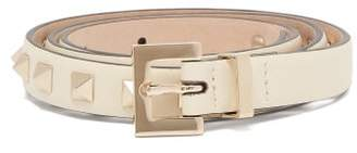 Valentino Rockstud Embellished Leather Belt - Womens - Ivory