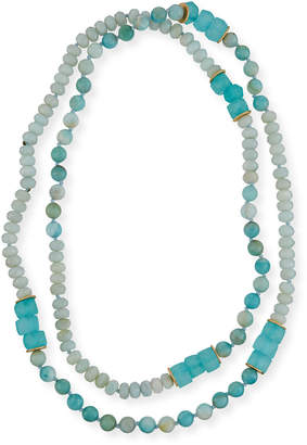 Neiman Marcus Akola Long Amazonite, Agate & Sea Glass Necklace