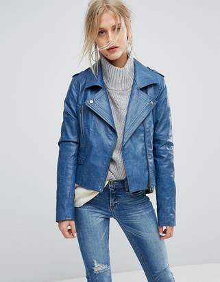 Current Air Leather Look Biker Jacket