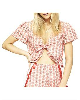 MinkPink Cherry Bomb Tie Top