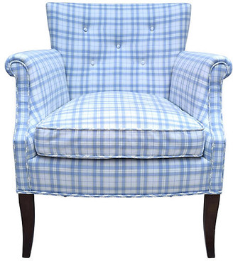 One Kings Lane Vintage Blue & White Button Tufted Armchair - Cannery Row Home