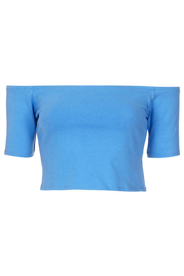 Topshop Short sleeve bardot crop top. 95% cotton,5% lycra/elastane. machine washable.