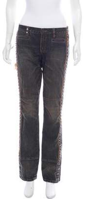 Ralph Lauren Low-Rise Feather-Accented Jeans