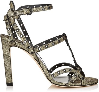 Jimmy Choo BEVERLY 100 Gold Mini Cracked Leather Sandals with Black Eyelets