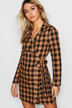 boohoo Check Print Woven Wrap Blazer Dress