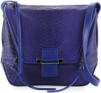 Kooba Gwenyth Leather Cobra-Print Crossbody Bag, Cobalt $220 thestylecure.com