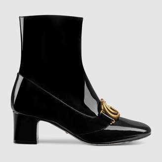Gucci Patent leather ankle boot with DoubleG