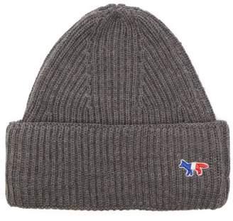MAISON KITSUNÉ Logo Embellished Ribbed Knit Wool Beanie Hat - Mens - Grey