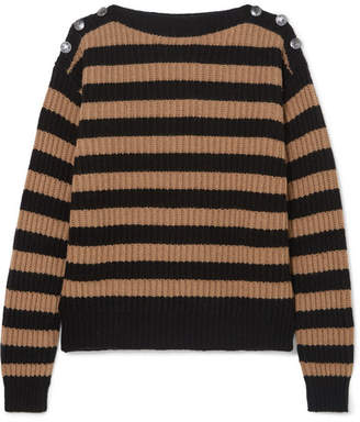 Max Mara Button-embellished Striped Ribbed Wool And Cashmere-blend Sweater - Beige