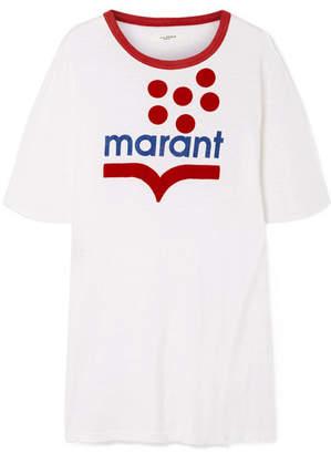 Etoile Isabel Marant Kutai Flocked Printed Slub Linen-jersey T-shirt - White