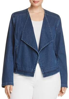 Lysse Plus Alana Drape Front Denim Jacket