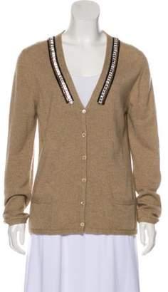 Malo Cashmere Embellished Knit Cardigan Khaki Cashmere Embellished Knit Cardigan