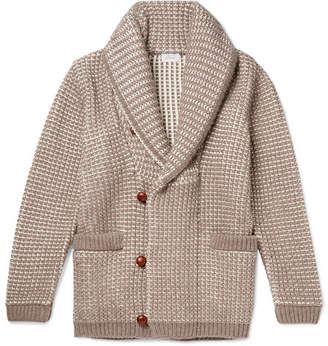 Brioni Shawl-collar Waffle-knit Cotton, Wool And Cashmere-blend Cardigan - Beige