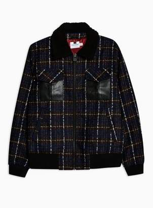 Topman Mens Red Borg Collar Faux Wool Bomber Jacket