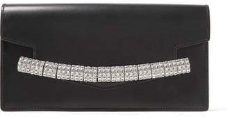 Calvin Klein Crystal-embellished Leather Clutch