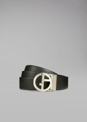Giorgio Armani Micro Pattern Leather Belt
