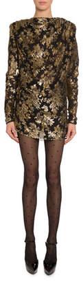 Saint Laurent Golden Embroidered Velvet Mini Dress