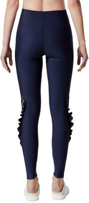 Carbon38 Carbon 38 Lace-Up Ruffle Full-Length Leggings
