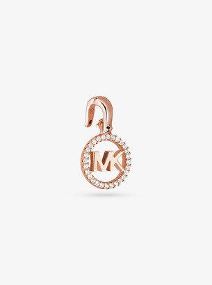 Michael Kors Precious Metal-Plated Sterling Silver Pave Logo Charm