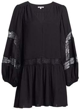 Elizabeth and James Leslie Georgette Lace-Trim Peasant Dress