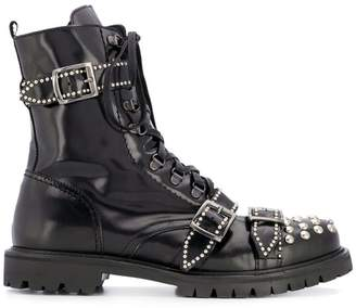 Christian Pellizzari studded buckled ankle boots