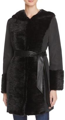 Maximilian Furs Leather Belt Mink Fur Trim Down Coat $1,295 thestylecure.com