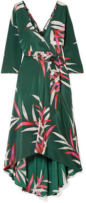 Diane von Furstenberg Eloise Wrap-effect Printed Silk Crepe De Chine Midi Dress - Dark green