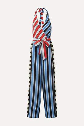 Alice + Olivia Keesha Wrap-effect Striped Cupro Halterneck Jumpsuit