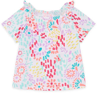 Okie Dokie Bow Sleeve Graphic T-Shirt-Baby Girl NB-24M