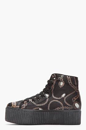 Jeffrey Campbell Black Chain Platform Sneakers