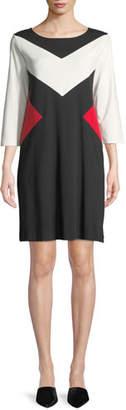 Joan Vass Boat-Neck 3/4-Sleeve Colorblock Cotton A-Line Dress, Plus Size