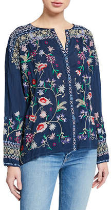 Johnny Was Gisella Floral Embroidered Button-Down Blouse