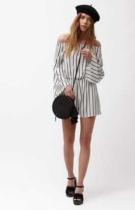 La Hearts Long Sleeve Off-The-Shoulder Romper