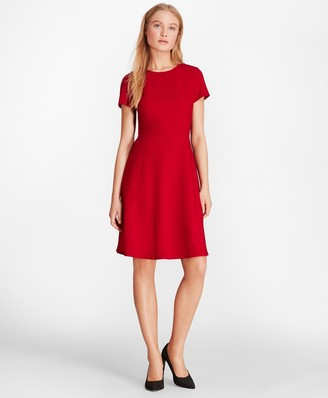 Brooks Brothers Wool-Blend Twill A-Line Dress