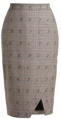Altuzarra Wilcox Prince Of Wales Checked Wool Blend Skirt - Womens - Grey Multi