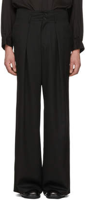 Sulvam Black High-Waisted Baggy Trousers