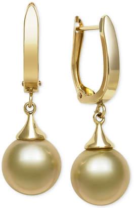 Belle de Mer Golden South Sea Pearl Drop (10mm) Earrings in 14k Gold, Created for Macy's