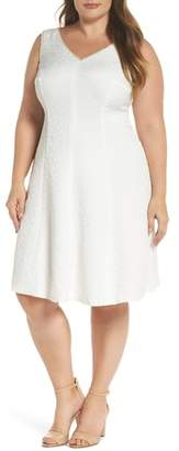 London Times Textured Fit & Flare Dress