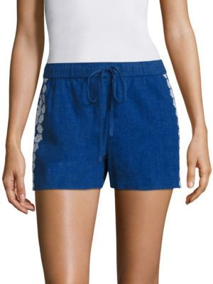 Vineyard Vines Embroidered Cotton Blend Shorts $88 thestylecure.com