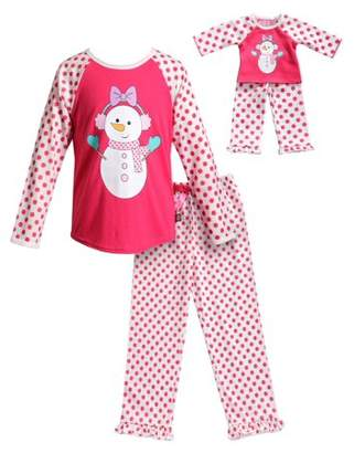 Dollie & Me Snow Girl Long Sleeves Snug Top and Pajama - 2 -Piece Outfit with Matching Doll Set (Little Girls and Big Girls)
