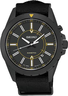 Seiko Men's Automatic Kinetic Recraft Series Black Nylon Strap Watch 42mm SKA705