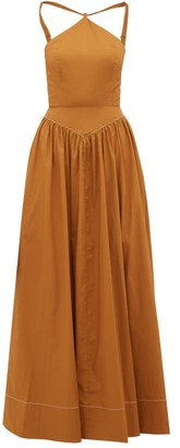 STAUD Natasha Halterneck Cotton Blend Poplin Maxi Dress - Womens - Light Brown