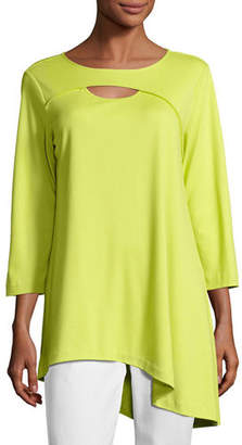 Joan Vass Yoke-Cutout Asymmetric Easy Tunic