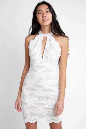 The Room Halter Neck White Lace Key Hole Bodycon