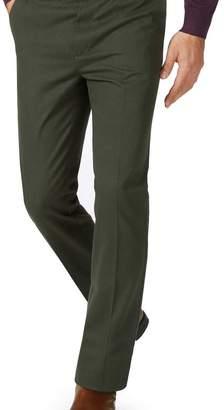 Charles Tyrwhitt Dark green slim fit flat front non-iron chinos