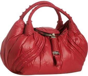 Fendi red down nylon Moncler 'Spy' bag