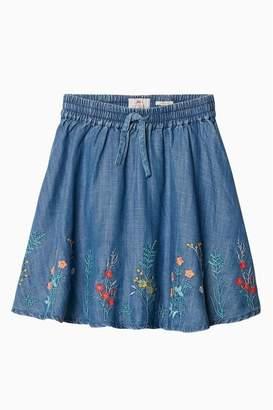 Fat Face Girls FatFace Blue Embroidered Woven Skirt - Blue