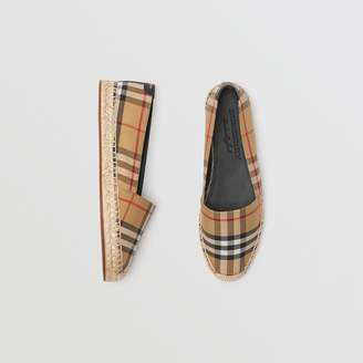 Burberry Vintage Check and Leather Espadrilles , Size: 39, Yellow